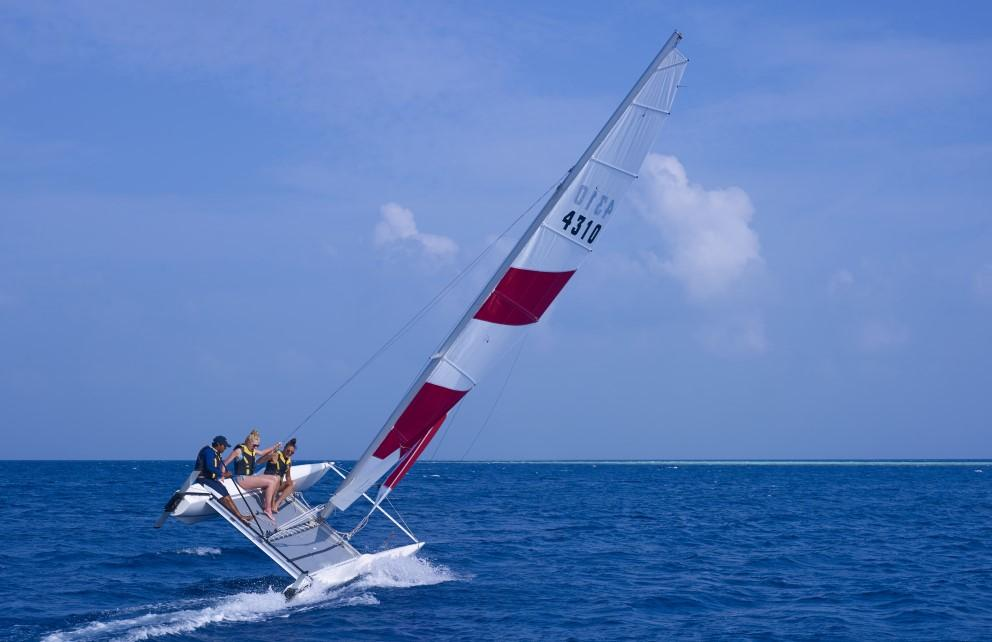 Catamaran at maldives water. an experience at getaway at fushifaru maldives
